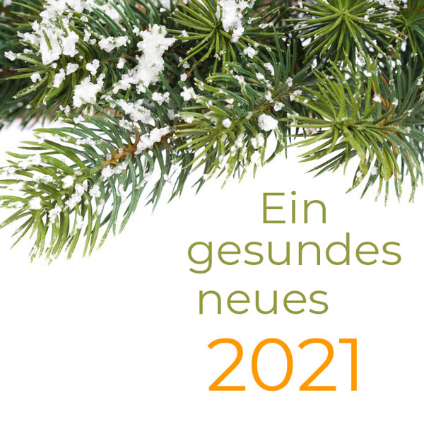 Tannenzweig mit Neujahrswünsche. Ein gesundes neues 2021. © Natalia Klenova, 123rf.com.